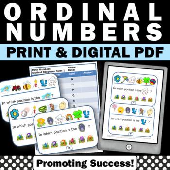 Ordinal Numbers Task Cards, Kindergarten Math Centers, Special Education Math