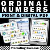 Ordinal Numbers Task Cards, Kindergarten Math Review Games SCOOT