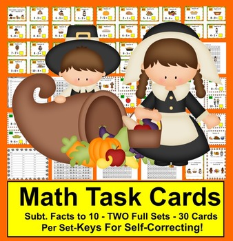 Thanksgiving Math Activities: Task Cards for Subtraction Facts to 10