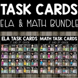 Math and ELA Task Cards with 2 digit addition and subtraction