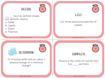 Matter: Physical Science Task Cards
