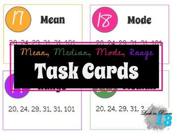 Task Cards: Mean, Median, Mode, Range