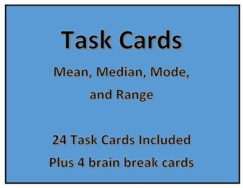 Task Cards: Mean Median Mode and Range