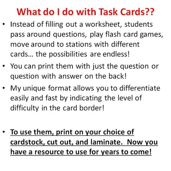Chemistry Task Cards Measurement, Significant Figures, Scientific Notation