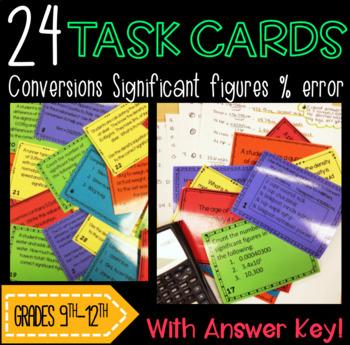 Task Cards: Measurements, Conversions, Significant Figures, and Percent Error