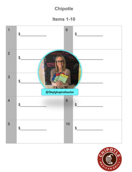 Task Cards- Menu Reading Set 1 and 2