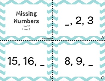 Task Cards - Missing Numbers Level 1 - 1 to 20 Series