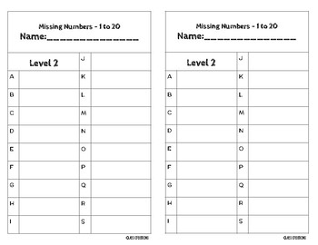 Task Cards - Missing Numbers Level 2 -1 to 20 Series