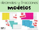 Modelos de Fracciones y Decimales Tarjetas (Model Fraction