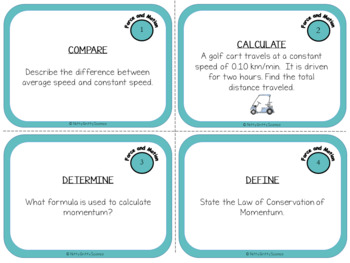 Motion and Forces: Physical Science Task Cards