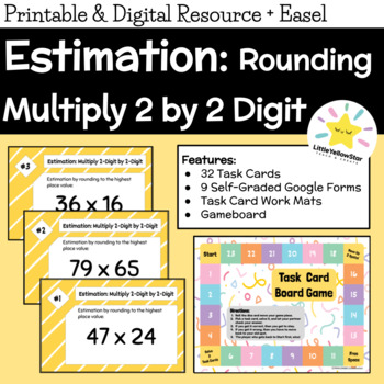 Task Cards - Multiplication 2 Digit by 2 Digit - Estimation by Rounding