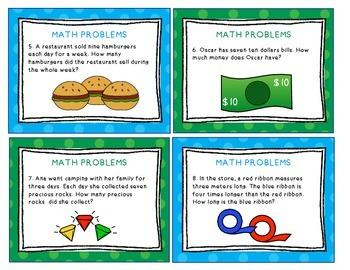 Math Task Cards Multiplication Word Problems
