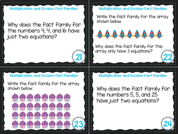 4th Grade Math Task Cards- Multiplication and Division Fact Families; 4.OA.A.1