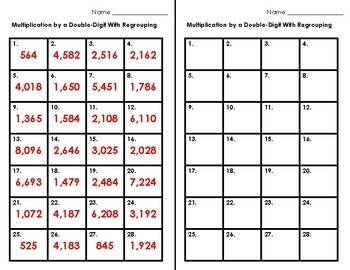 Task Cards • Multiplication by a Double-Digit with Regrouping • Thanksgiving