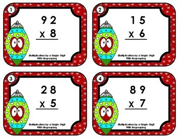 Task Cards • Multiplication by a Single-Digit with Regrouping • Christmas