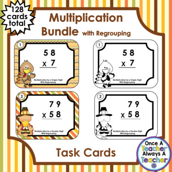 Task Cards • Multiplication BUNDLE with Regrouping • Thanksgiving