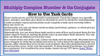 Task Cards: Multiply A Complex Number and its Conjugate w/ KEY