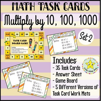 Task Cards - Multiply by 10, 100, and 1000 {Set 2}