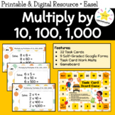 Math Task Cards: Multiply by Multiples of 10, 100, and 1000 [Easy -Powers of 10]