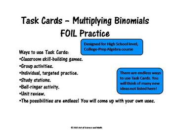 Task Cards - Multiplying Binomials - FOIL Practice - High School Math