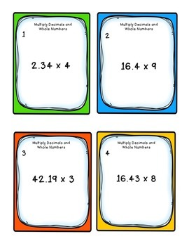Task Cards: Multiplying Decimals to Hundredths by 1-digit Whole Numbers 5.NBT.2