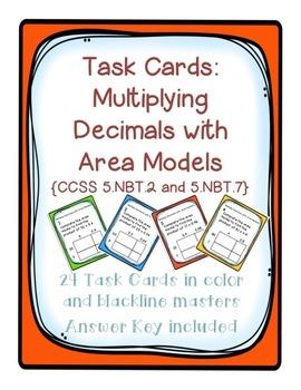 Task Cards: Multiplying Decimals with Area Models 5.NBT.2
