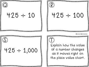 Task Cards- Multiplying & Dividing Decimals by Base Ten Units
