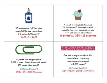 Task Cards:  Multiplying & Dividing Fractions and Decimals