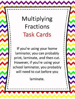 Task Cards - Multiplying Fractions
