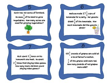 Task Cards - Multiplying Mixed Numbers NF2.6