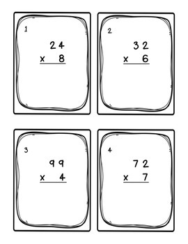 Task Cards: Multiplying [Whole Number Factors: 1-digit and 2-digit]  5.NBT.A.5