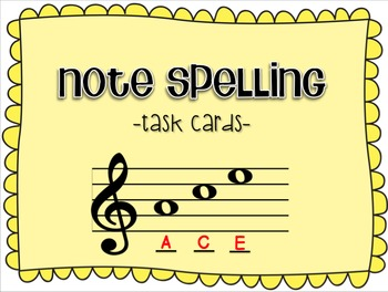 Task Cards: Note Spelling - Treble Clef
