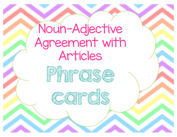 Task Cards- Noun-Adjective Agreement and Articles 20 cards