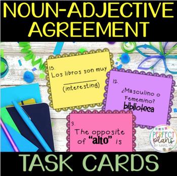 Task Cards Noun Adjective Agreement In Spanish Avancemos 1 U1 L1