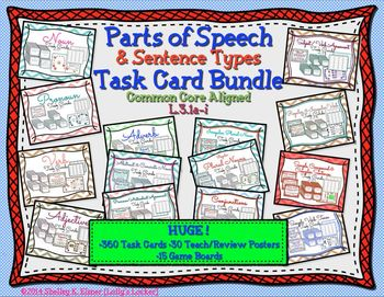 Task Cards (Nouns, verbs, adjectives, adverbs & pronouns)