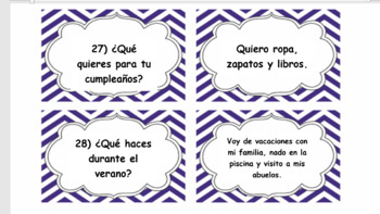 Task Cards - Novice Level Questions in Spanish