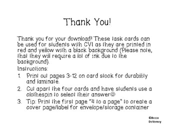 Task Cards Numbers 1-10 Ten Frames for students with CVI