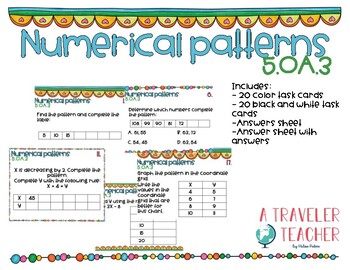 Task Cards Numerical Patterns 5.OA.3