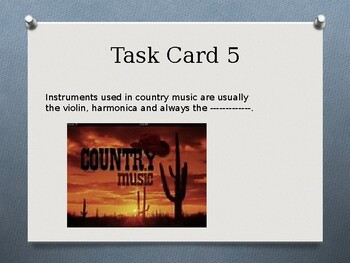 Task Cards On Music Genres