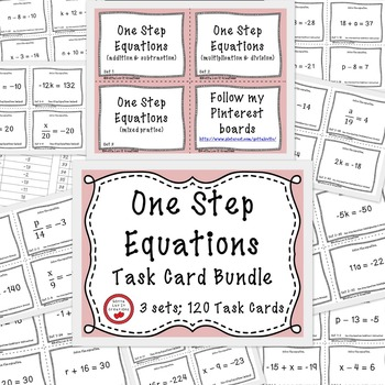 Solving Equations - One Step Equations Activity With Negatives 120 Task Cards