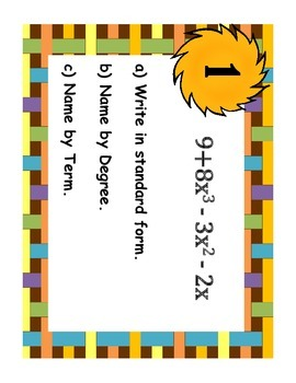 Task Cards: Operations with Polynomials