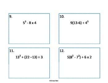 Task Cards - Order of Operations