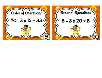 Task Cards: Order of operations