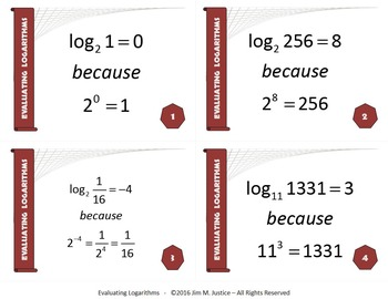 Task Cards PLUS - Evaluating Logarithms