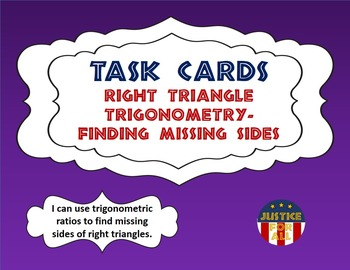 Task Cards PLUS - Right Triangle Trigonometry - Finding Missing Sides