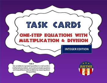 Task Cards PLUS - Solving One-Step Equations w/Mult & Division (Integers)