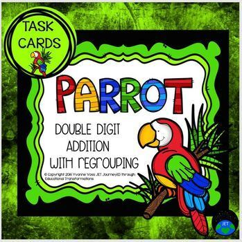 Task Cards Parrot Themed Double Digit Addition with Regrouping