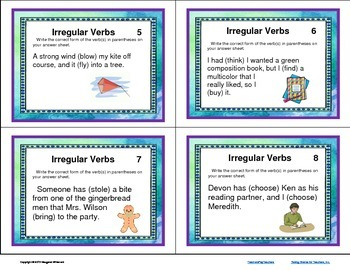 Task Cards Parts of Speech Irregular Verbs (CCSS Aligned)