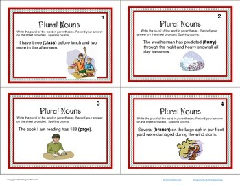 Task Cards  Parts of Speech Plural Nouns CCSS