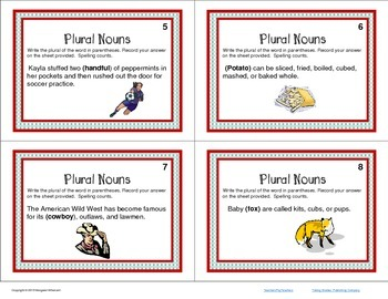 Task Cards  Parts of Speech Plural Nouns CCSS